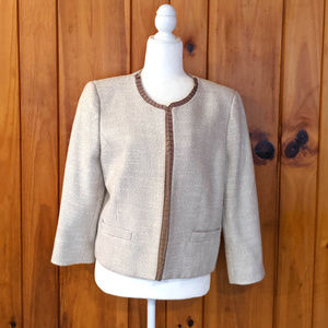 Cream checked blazer Size 14 Antonio Melani Pleat